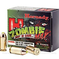 40 SW Zombie Ammo For Sale - 165 gr Jacketed Hollow Point Z-Max Hornady Ammunition In Stock - 20 Rounds