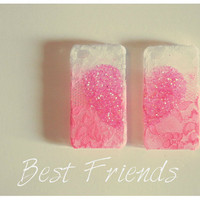 Best Friends Duo pink heart cases