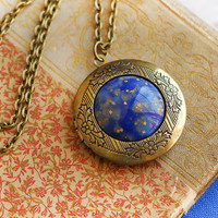 Locket Jewelry Vintage Galaxy Cabochon Jewelry Antiqued Locket Holiday Jewelry Necklace Stars Night Sky