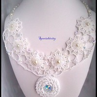 White Wedding/Prom Pearl and Swarovski Crystal Hand Beaded Necklace