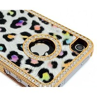 Amazon.com: LiViTech Purple Rainbow Cushion Quilted Designer Cheetah Diamond Rhinestone Crystal Bling Case iPhone 4 4S -AT&T,Verizon,Sprint: Cell Phones & Accessories