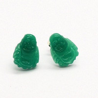 Jade Glass Buddha 14mm earring post by CaliforniaMommy3 on Etsy