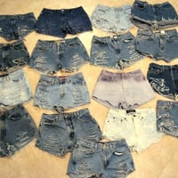 High Waisted Shorts Custom Order Denim Jean Shorts Hipster Tumblr by Shorty Shorts