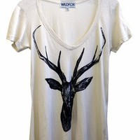 Wildfox Couture Stag Hippie V Neck Tee in Dirty White