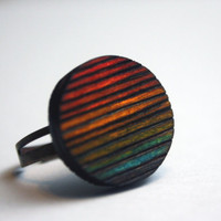 Wood Burned Rainbow Ring LGBTQ Circle Cut Hand by DecayAndRenewal