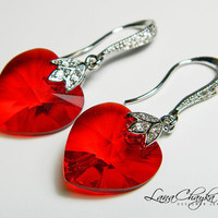 Earrings Swarovski Heart Drop Red Crystal 925 by LanaChayka