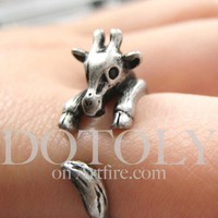 Miniature Baby Giraffe Animal Hug Wrap Ring in Silver - Sizes 4 to 9