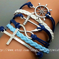 Infinity Bracelet Anchor Bracelet Cross Steering by Infinitywishes
