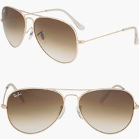 RAY BAN AVIATOR RB3025 Sunglasses - Gold/Brown 001/51 Medium (58mm)