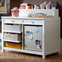 Beadboard Snack Bar Console + Hutch