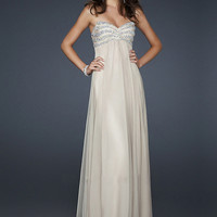 SinoSpecial.com — Appealing Ivory A-line Sweetheart Neckline Floor Length Sequins Chiffon Prom Dress