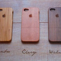 Iphone 5 case - wood walnut, cherry or bamboo wood - Apple logo