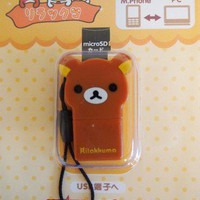RILAKKUMA CUTE MICRO SD CARD TO USB CONVERTER PLUS CELL IPHONE GALAXY CHAIN