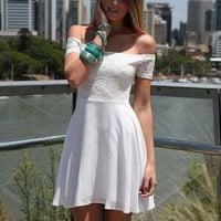 White Off the Shoulder Lace Dress with Fitted Top&Skater Ski