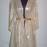 Vintage 1980s Gold Sequence Shawl Wrap/ Dress
