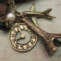 Paris Trip a charm necklace by trinketsforkeeps on Etsy