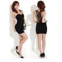 Fashion Womens Sexy Slim Lace Back Backless Clubwear Party Cocktail Mini Dress