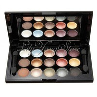 15 Color Shimmer Eyeshadow Cosmetics Palette Eye Shadow Makeup Brush Kit Mirror