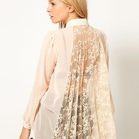 Oasis Lace Pleat Back Chiffon Blouse at asos.com