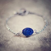 ocian sea mystic druzy navy blue agate stone sterling silver bracelet fashion jewelry by YUNILIsmiles
