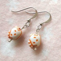 Girls Hello Kitty Orange Head Earrings Jewelry Children Kids