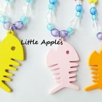 Children Jewelry Yellow Orange Pink Red Fish Necklace Blue Waters Wood