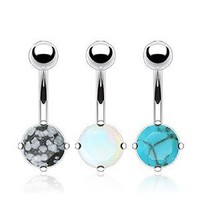 Value Pack of Semi Precious Stone Prong Set Navel Belly Ring - 14G, 3/8'' Length - Sold as a Set of 3: Jewelry: Amazon.com