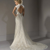 Ivory & Light Gold Scalloped Lace Open Back Cap Sleeve Bernadette Wedding Gown - 0 - 28 - Unique Vintage - Cocktail, Pinup, Holiday & Prom Dresses.