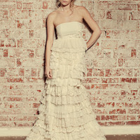 Recycled Fabric Bohemian Wedding Dress The Flora Gown by ktjean