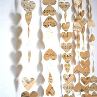 5 Vintage Music Hearts Garlands  each 10&#x27; by thePathLessTraveled