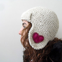 Pilot Hat for Adults in Ivory Winter Fashion by SmilingKnitting