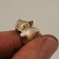 fox ring with green garnet eyes by Michaeltatom on Etsy