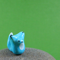 Little Blue Fox Hand Sculpted by MadeWithClayAndLove on Etsy