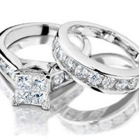 Princess Cut Diamond Engagement Ring and Wedding Band Set 1/2 Carat (ctw) in 10K White Gold: Jewelry: Amazon.com