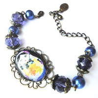 russian matryoshka doll purple blue floral oval glass beaded bracelet