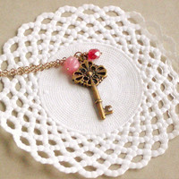 Old Secret Necklace - 'Treasures' Collection, Key Necklace Vintage Style Jewelry, In Milky