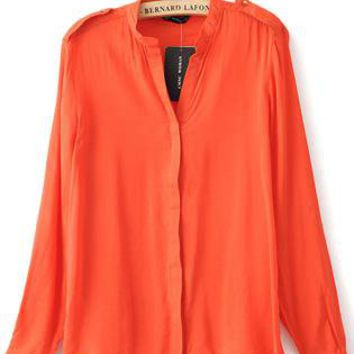 Orange V-neck Placket Long Sleeve Studded Blouse S067