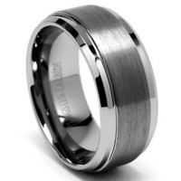 9MM High Polish / Matte Finish Men&#x27;s Tungsten Ring Wedding Band Sizes 6 to 15: Jewelry: Amazon.com