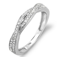 0.25 Carat (ctw) 10K White Gold Round Diamond Anniversary Wedding Band Swirl Matching Ring 1/4 CT: Jewelry: Amazon.com