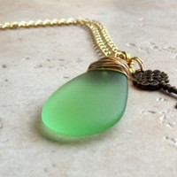 Light Green Sea Glass Necklace:  Gold Wire Wrapped Beach Jewelry, Skeleton Key Charm