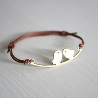 Love Birds Bracelet or Anklet in Matte Gold
