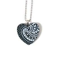 Black heart pendant chunky Boho hippie wooden heart necklace or ornament hand painted in white doodle art Valentine's Day gift