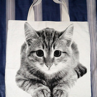 Kitten Cat Bag - Kitten Bag Kitty Cat Canvas Bag Tote Bag Animal Bag Shopping Bag Market Bag Funny Bag Teen Girl Women Chic Fashion Bag