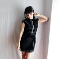 Black velvet lace dress - little black dress mini dress formal dress party dress prom dress bridesmaid dress womens dress