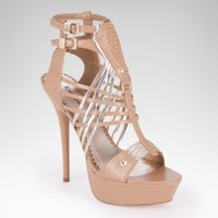 bebe | Tina Faux Leather Metallic Woven Sandal