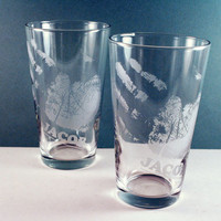 2 Handprint Pint Glasses  etched with your by PhoenixFireStudios
