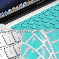 Amazon.com: GMYLE Turquoise Robin Egg Blue Keyboard Cover for Macbook Air Pro 13 15 15 Pro Retina 17 US model OS 10.7 New Layout: Computers &amp; Accessories