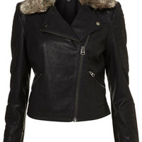 Fur Collar Quilted Biker Jacket - Jackets & Coats  - Clothing
