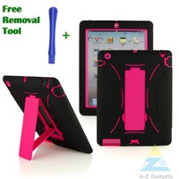 A-Z Gadgets Branded Black and Hot Pink Case for Apple iPad 2 iPad 3 iPad 4-Dual Layer PC and Silicone Case with a Slide-out Kickstand- Full Protection Skin Cover