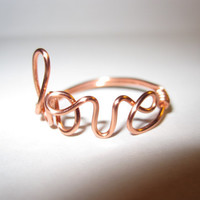 Free Shipping Copper Love Ring Wire Wrapped Dainty Delicate Unique Gifts For Her Valentines Day